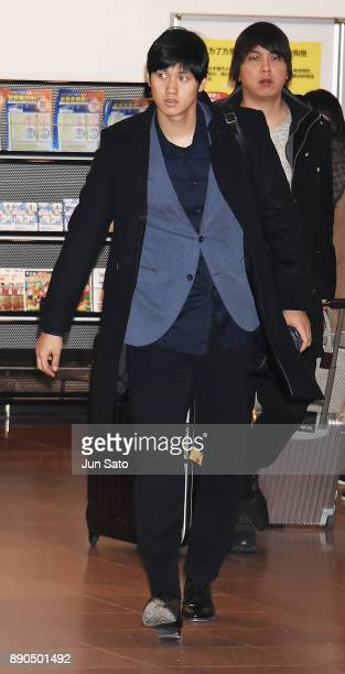 Shohei Ohtani of the Los Angeles Angels is seen upon arrival at Haneda airport on December 12 2017 in Tokyo Japan