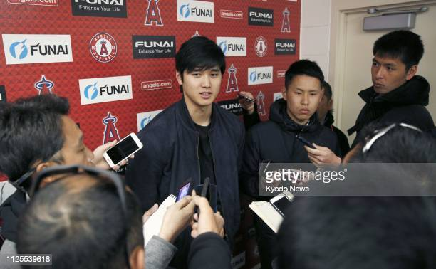 Shohei Ohtani of the Los Angeles Angels meets the media in Tempe Arizona on Feb 17 during the team's spring training camp ==Kyodo