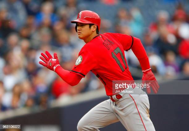 Shohei Ohtani of the Los Angeles Angels of Anaheim advances to third base during the ninth inning against the New York Yankees at Yankee Stadium on...