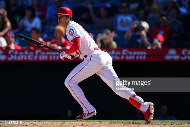 Shohei Ohtani of the Los Angeles Angels of Anaheim at bat during the game against the Oakland Athletics at Angel Stadium on September 30 2018 in...
