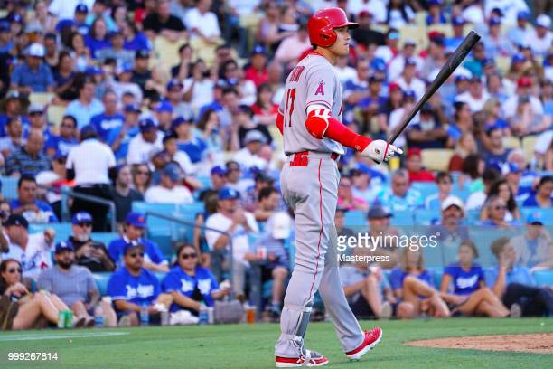 Shohei Ohtani of the Los Angeles Angels of Anaheim at bat during the MLB game against the Los Angeles Dodgers at Dodger Stadium on July 14 2018 in...