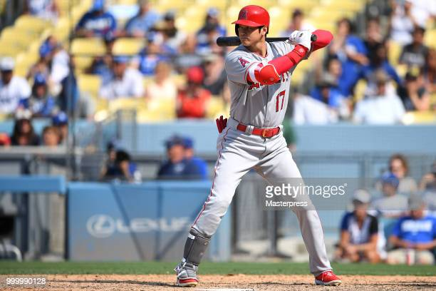 Shohei Ohtani of the Los Angeles Angels of Anaheim at bat during the MLB game against the Los Angeles Dodgers at Dodger Stadium on July 15 2018 in...