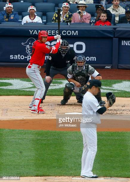 Shohei Ohtani of the Los Angeles Angels of Anaheim bats against Masahiro Tanaka of the New York Yankees during the first inning at Yankee Stadium on...