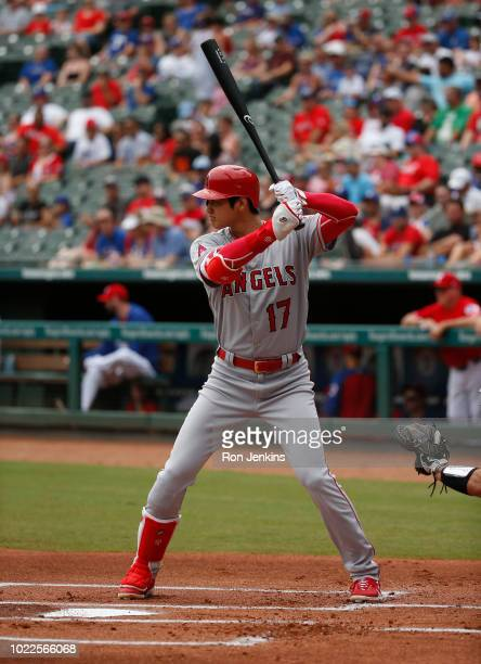 Shohei Ohtani of the Los Angeles Angels of Anaheim bats against the Texas Rangers during the first inning at Globe Life Park in Arlington on August...