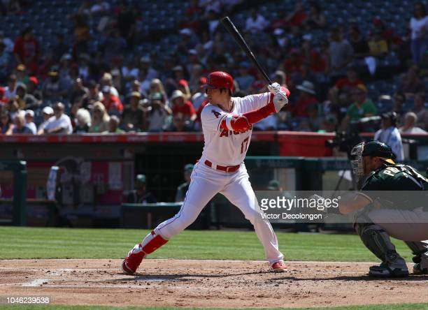 Shohei Ohtani of the Los Angeles Angels of Anaheim bats during the first inning of the MLB game against the Oakland Athletics at Angel Stadium on...