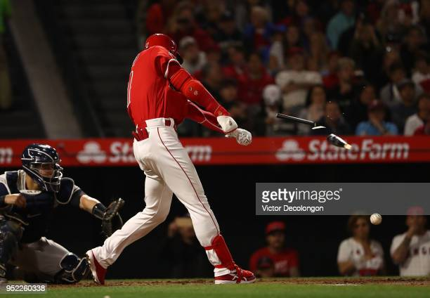 Shohei Ohtani of the Los Angeles Angels of Anaheim break his bat in the fifth inning on a groundball out to second base during the MLB game at Angel...