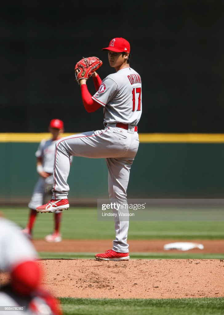 Shohei Ohtani #17 of the Los Angeles Angels of Anaheim delivers against the Seattle Mariners in the first inning at Safeco Field on May 6, 2018 in Seattle, Washington. The Los Angeles Angels of Anaheim won 8-2 over the Seattle Mariners.