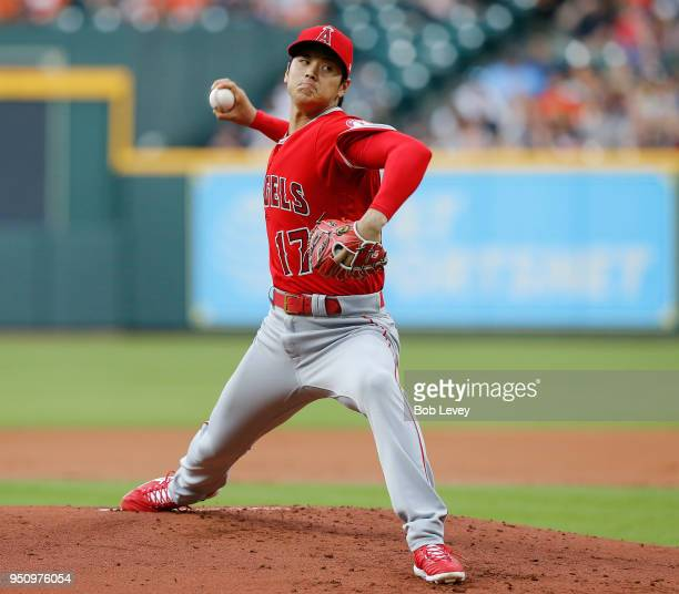 Shohei Ohtani of the Los Angeles Angels of Anaheim during game action against the Houston Astros at Minute Maid Park on April 24 2018 in Houston Texas