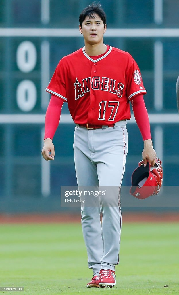 Shohei Ohtani #17 of the Los Angeles Angels of Anaheim during game action against the Houston Astros at Minute Maid Park on April 24, 2018 in Houston, Texas.