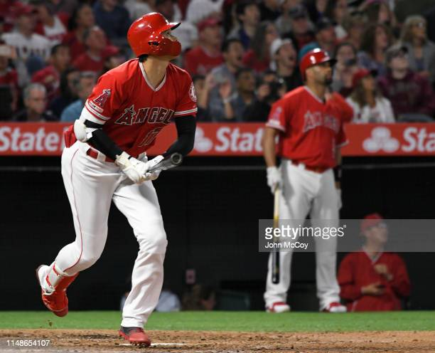 Shohei Ohtani of the Los Angeles Angels of Anaheim hits a home run against Yusei Kikuchi of the Seattle Mariners in the fourth inning at Angel...