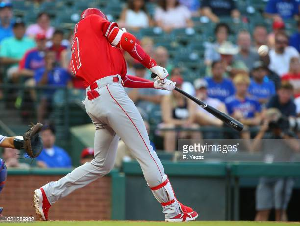 Shohei Ohtani of the Los Angeles Angels of Anaheim hits in the first inning against the Texas Rangers at Globe Life Park in Arlington on August 17...