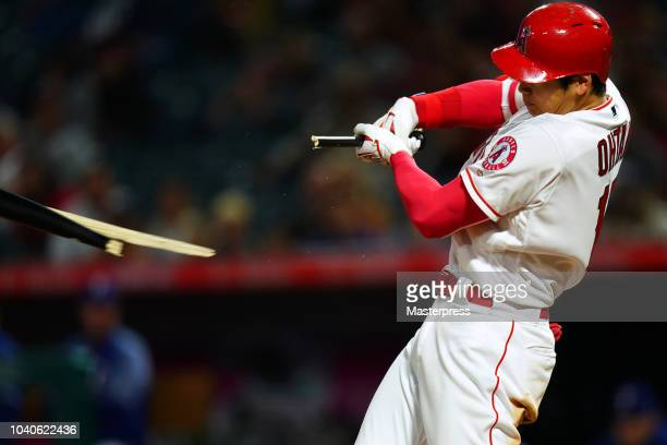 Shohei Ohtani of the Los Angeles Angels of Anaheim in action during the game against the Texas Rangers at Angel Stadium on September 25 2018 in...