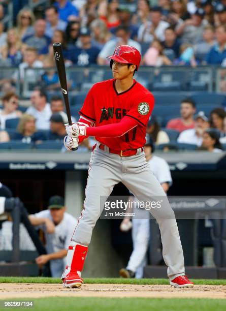Shohei Ohtani of the Los Angeles Angels of Anaheim in action during the first inning against the New York Yankees at Yankee Stadium on May 26 2018 in...