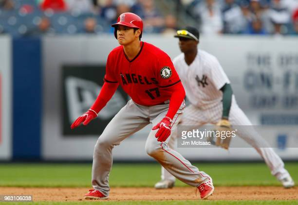 Shohei Ohtani of the Los Angeles Angels of Anaheim leads off second base during the ninth inning against Didi Gregorius of the New York Yankees at...