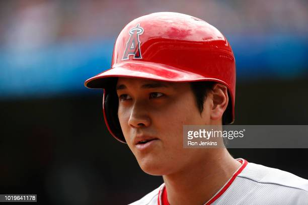 Shohei Ohtani of the Los Angeles Angels of Anaheim looks on during the first inning against the Texas Rangers at Globe Life Park in Arlington on...