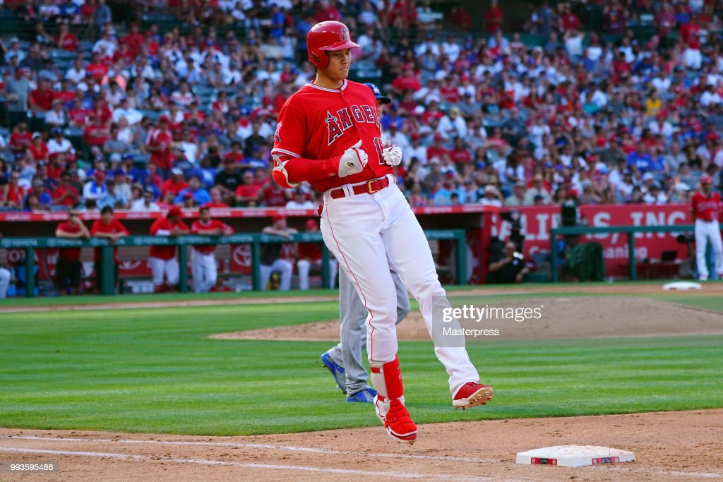 Shohei Ohtani #17 of the Los Angeles Angels of Anaheim looks on during the MLB against the Los Angeles Dodgers at Angel Stadium on July 7, 2018 in Anaheim, California.