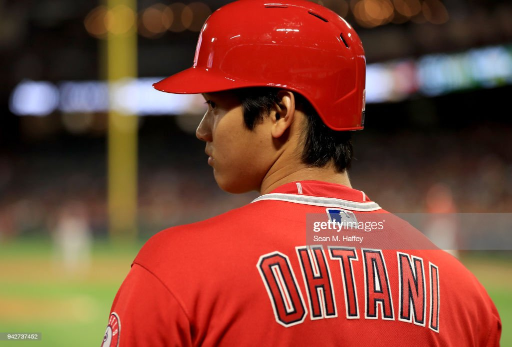 Shohei Ohtani #17 of the Los Angeles Angels of Anaheim looks on in the on deck circle during a game against the Cleveland Indians at Angel Stadium on April 3, 2018 in Anaheim, California.