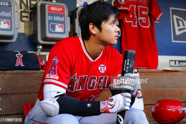 Shohei Ohtani of the Los Angeles Angels of Anaheim looks on prior to the MLB game between Seattle Mariners and Los Angeles Angels at TMobile Park on...