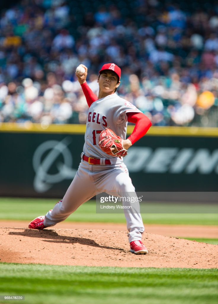 Shohei Ohtani #17 of the Los Angeles Angels of Anaheim pitches against the Seattle Mariners in the second inning at Safeco Field on May 6, 2018 in Seattle, Washington. The Los Angeles Angels of Anaheim won 8-2 over the Seattle Mariners.