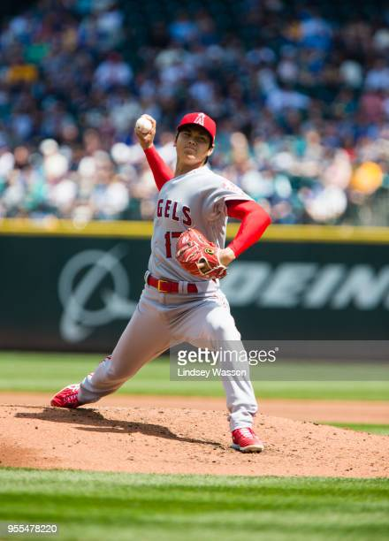 Shohei Ohtani of the Los Angeles Angels of Anaheim pitches against the Seattle Mariners in the second inning at Safeco Field on May 6 2018 in Seattle...