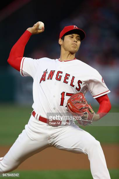 Shohei Ohtani of the Los Angeles Angels of Anaheim pitches during the first inning of a game against the Boston Red Sox at Angel Stadium on April 17...