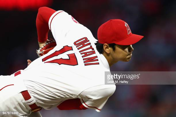 Shohei Ohtani of the Los Angeles Angels of Anaheim pitches during the second inning of a game against the Boston Red Sox at Angel Stadium on April 17...