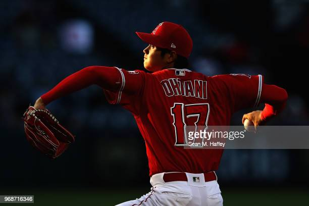 Shohei Ohtani of the Los Angeles Angels of Anaheim pitches during the first inning of a game against the Kansas City Royals at Angel Stadium on June...