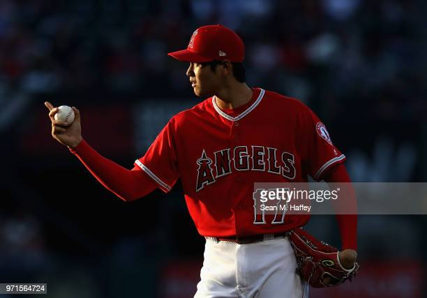 Shohei Ohtani of the Los Angeles Angels of Anaheim pitches during the second inning of a game against the Kansas City Royals at Angel Stadium on June...