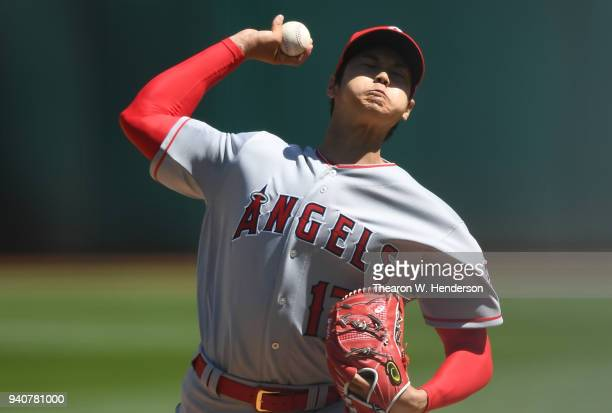 Shohei Ohtani of the Los Angeles Angels of Anaheim pitches in the bottom of the second inning of his Major League pitching debut against the Oakland...