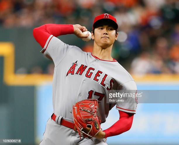 Shohei Ohtani of the Los Angeles Angels of Anaheim pitches in the first inning against the Houston Astros at Minute Maid Park on September 2, 2018 in...