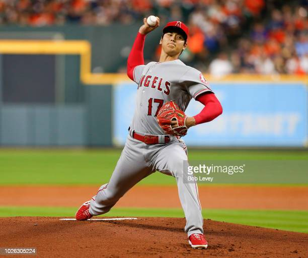 Shohei Ohtani of the Los Angeles Angels of Anaheim pitches in the first inning against the Houston Astros at Minute Maid Park on September 2 2018 in...