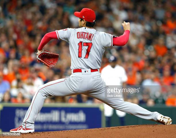 Shohei Ohtani of the Los Angeles Angels of Anaheim pitches in the second inning against the Houston Astros at Minute Maid Park on September 2 2018 in...