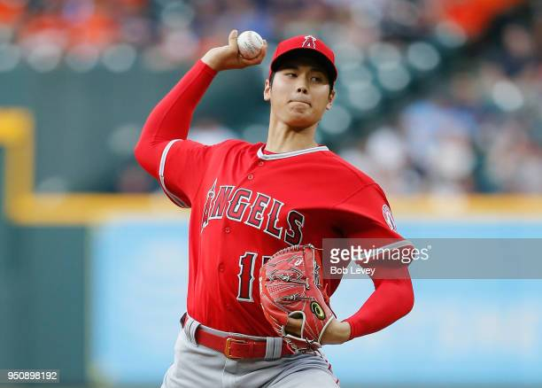 Shohei Ohtani of the Los Angeles Angels of Anaheim pitches in the first inning Houston Astros at Minute Maid Park on April 24 2018 in Houston Texas