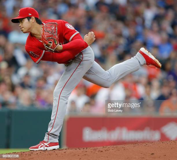 Shohei Ohtani of the Los Angeles Angels of Anaheim pitches in the second inning against the Houston Astros at Minute Maid Park on April 24 2018 in...