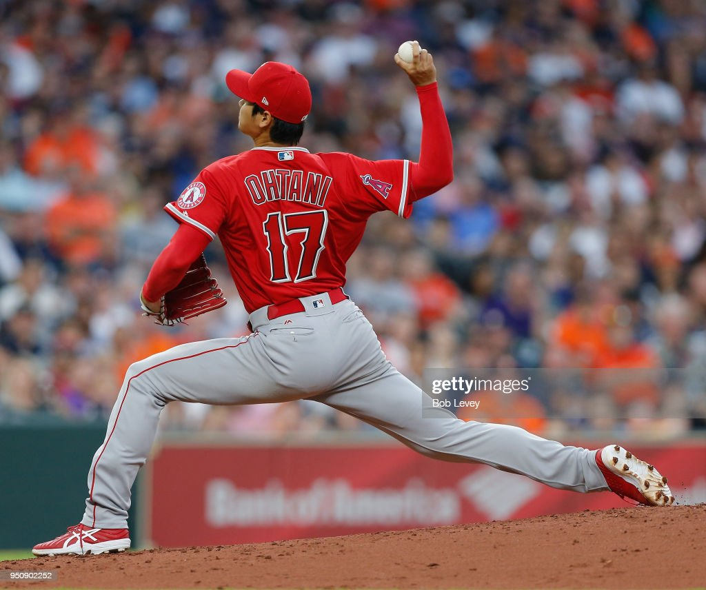 Shohei Ohtani #17 of the Los Angeles Angels of Anaheim pitches in the second inning against the Houston Astros at Minute Maid Park on April 24, 2018 in Houston, Texas.