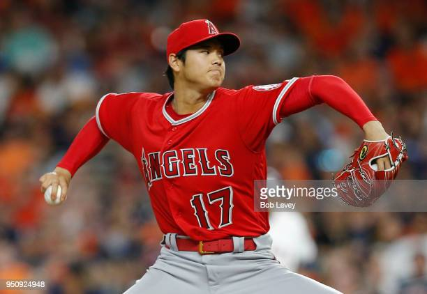 Shohei Ohtani of the Los Angeles Angels of Anaheim pitches in the sixth inning against the Houston Astros at Minute Maid Park on April 24 2018 in...