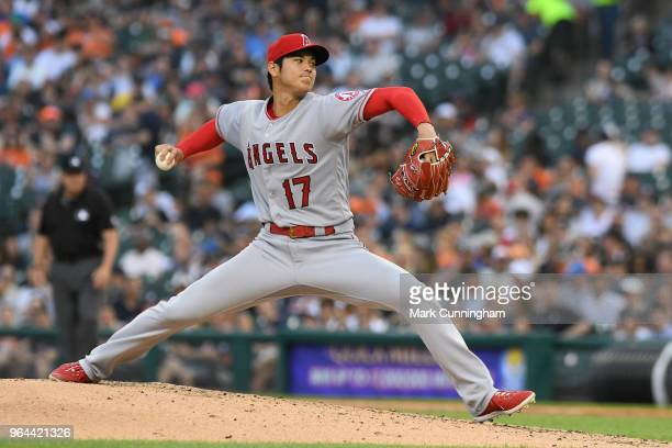 Shohei Ohtani of the Los Angeles Angels of Anaheim pitches in the third inning of the game against the Detroit Tigers at Comerica Park on May 30 2018...