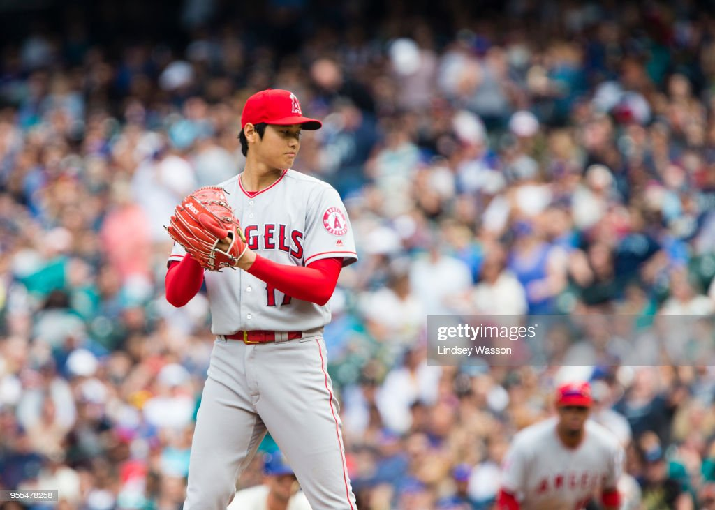 Shohei Ohtani #17 of the Los Angeles Angels of Anaheim prepares to deliver in the seventh inning against the Seattle Mariners at Safeco Field on May 6, 2018 in Seattle, Washington. The Los Angeles Angels of Anaheim won 8-2 over the Seattle Mariners.