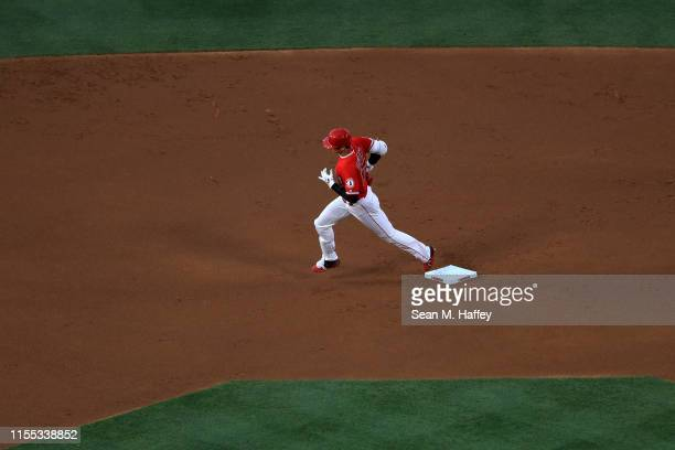 Shohei Ohtani of the Los Angeles Angels of Anaheim rounds second base after hitting a solo homerun during the first inning of a game against the Los...