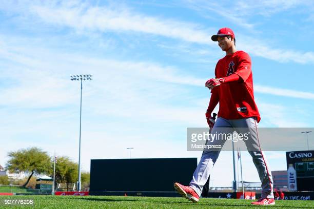 Shohei Ohtani of the Los Angeles Angels of Anaheim seen during a spring training session on March 5 2018 in Tempe Arizona