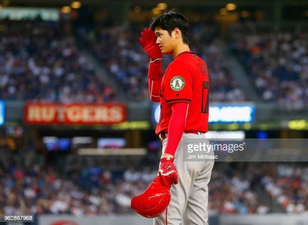 Shohei Ohtani of the Los Angeles Angels of Anaheim stands at first base during the third inning against the New York Yankees at Yankee Stadium on May...