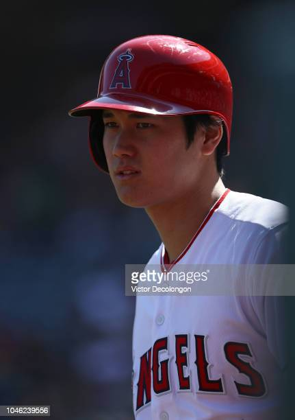 Shohei Ohtani of the Los Angeles Angels of Anaheim stands ondeck during the first inning of the MLB game against the Oakland Athletics at Angel...