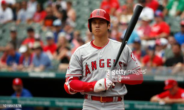 Shohei Ohtani of the Los Angeles Angels of Anaheim steps up to the plate against the Texas Rangers during the first inning at Globe Life Park in...