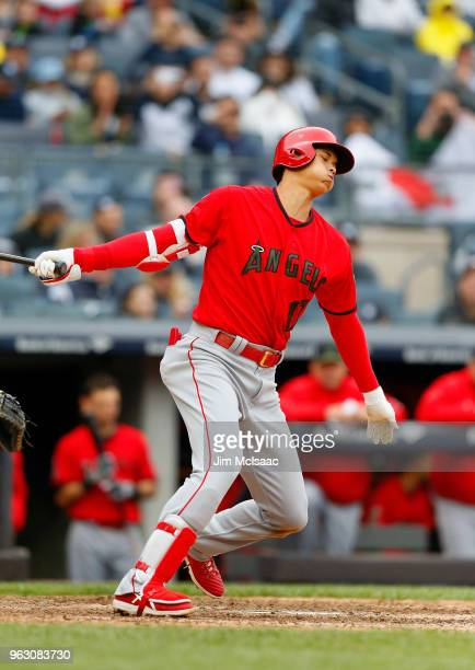 Shohei Ohtani of the Los Angeles Angels of Anaheim strikes out in the sixth inning against the New York Yankees at Yankee Stadium on May 27 2018 in...