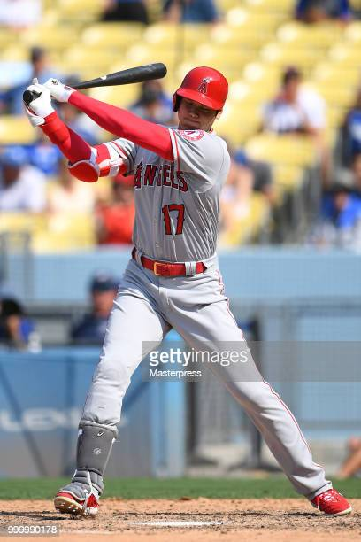 Shohei Ohtani of the Los Angeles Angels of Anaheim striking out during the MLB game against the Los Angeles Dodgers at Dodger Stadium on July 15 2018...