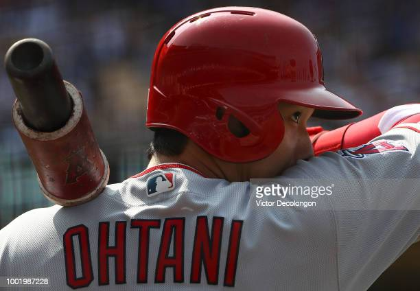 Shohei Ohtani of the Los Angeles Angels of Anaheim waits ondeck during the seventh inning of the MLB game against the Los Angeles Dodgers at Dodger...