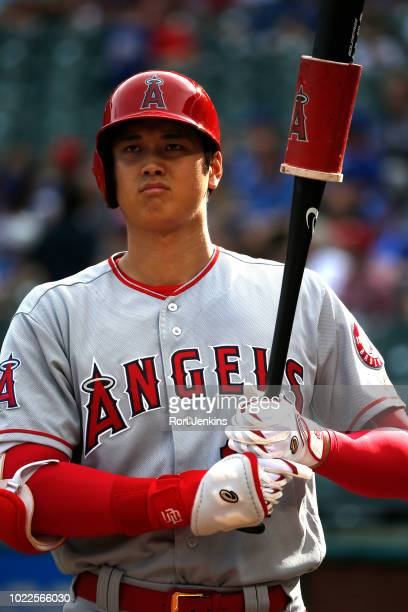 Shohei Ohtani of the Los Angeles Angels of Anaheim waits to bat against the Texas Rangers during the eighth inning at Globe Life Park in Arlington on...