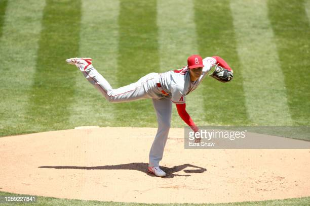 Shohei Ohtani of the Los Angeles Angels pitches against the Oakland Athletics in the first inning at Oakland-Alameda County Coliseum on July 26, 2020...