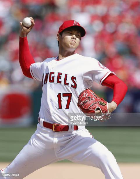 Shohei Ohtani of the Los Angeles Angels pitches against the Oakland Athletics on April 8 in Anaheim California He struck out 12 over seven innings in...