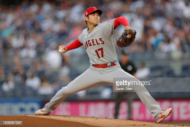Shohei Ohtani of the Los Angeles Angels pitches during the first inning against the New York Yankees at Yankee Stadium on June 30, 2021 in the Bronx...